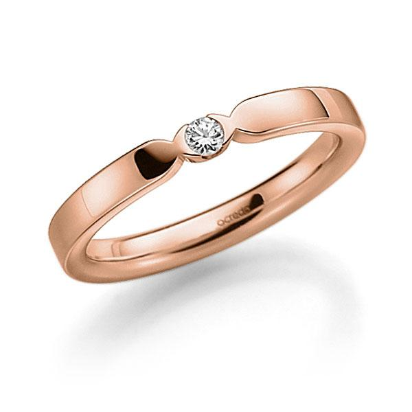 Memoire/Diamantring in Rotgold 585 mit zus. 0,06 ct. Brillant tw, vs von acredo - A-3RZ62-R5-3FTXVZ