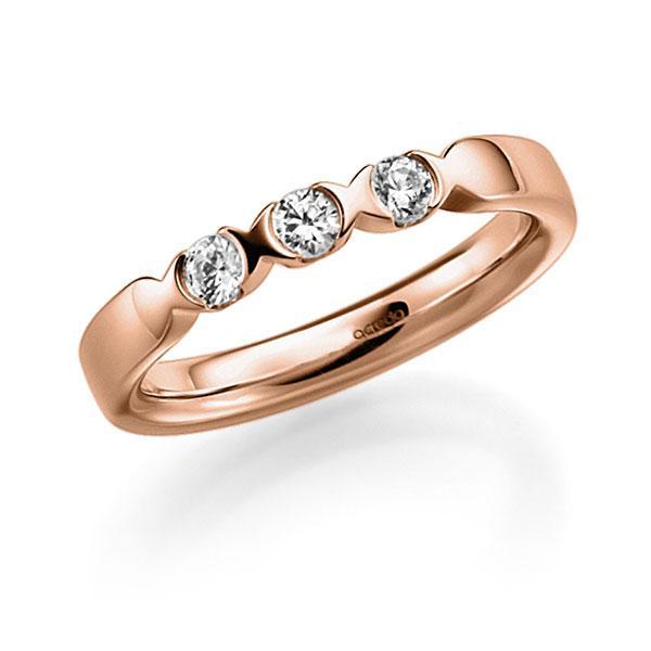 Memoire/Diamantring in Rotgold 585 mit zus. 0,3 ct. Brillant tw, vs von acredo - A-3RZ63-R5-3FTXWZ