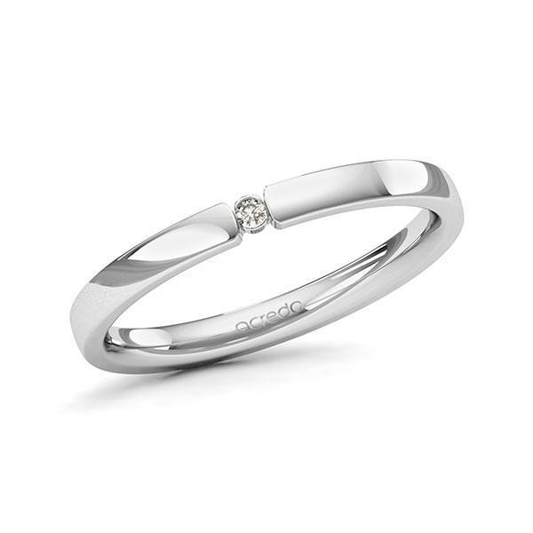 Memoire/Diamantring in Weißgold 585 mit zus. 0,015 ct. Brillant tw, si von acredo - A-11MISV-W5-1T634SZ