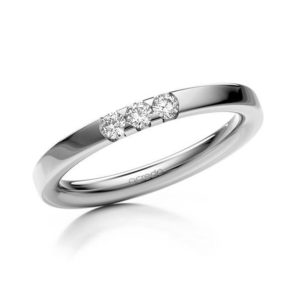 Memoire/Diamantring in Weißgold 585 mit zus. 0,15 ct. Brillant tw, si von acredo - A-11MIEJ-W5-2LHGNZ
