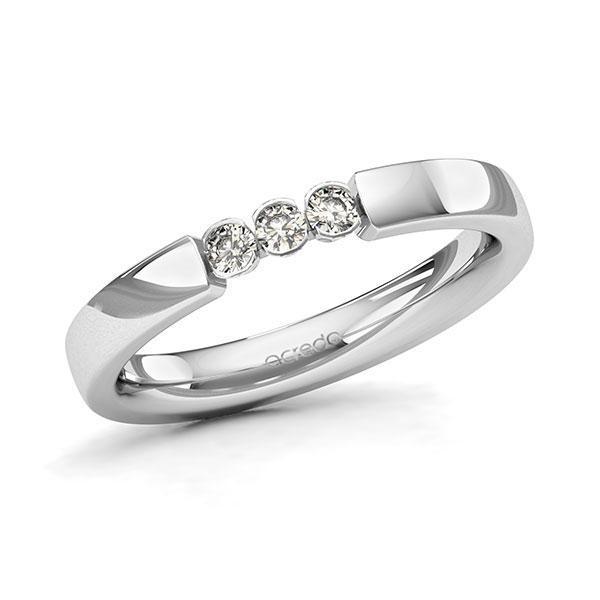 Memoire/Diamantring in Weißgold 585 mit zus. 0,15 ct. Brillant tw, si von acredo - A-11MIX6-W5-2LHGNZ