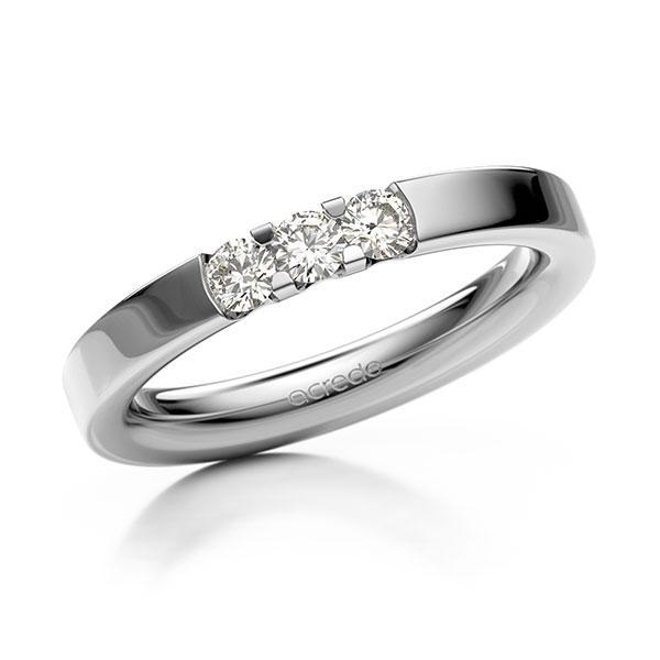 Memoire/Diamantring in Weißgold 585 mit zus. 0,3 ct. Brillant tw, vs von acredo - A-12EXB0-W5-914LGZ