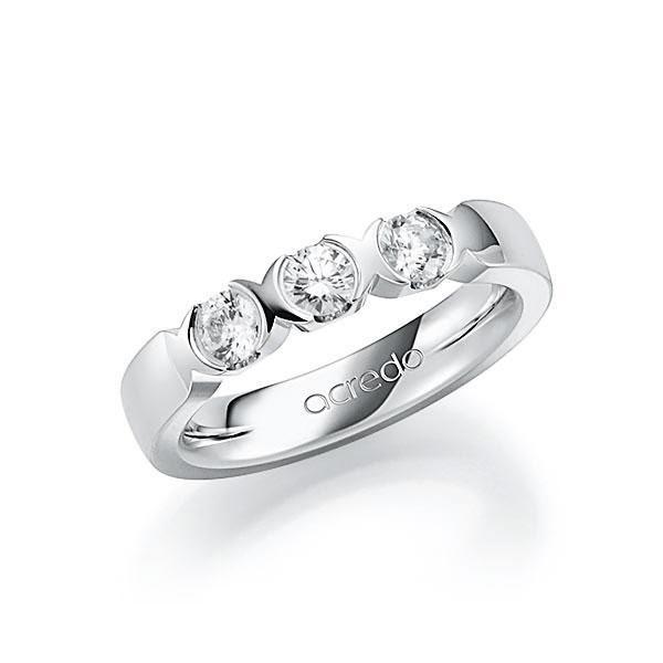 Memoire/Diamantring in Weißgold 585 mit zus. 0,6 ct. Brillant tw, vs von acredo - A-7J076-W5-1C841BZ