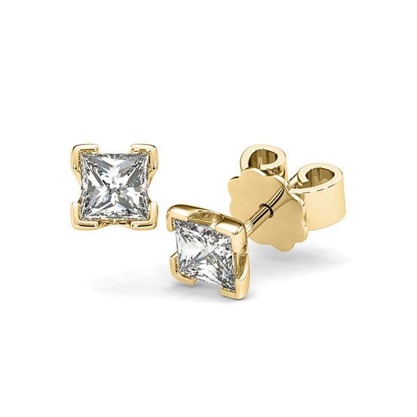 Ohrstecker 4-eckige Stotzen in Gelbgold 585 mit 2x 0,5 ct. Prinzess-Diamant tw, vs von acredo - A-12I235-G5-1VCE0IZ