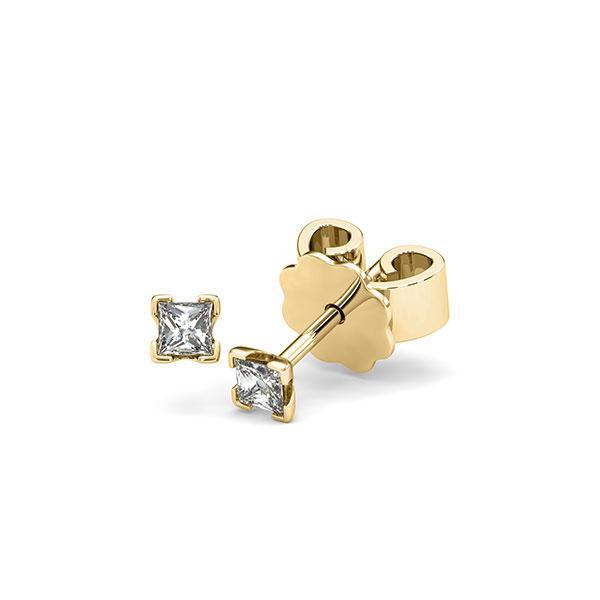 Ohrstecker 4-eckige Stotzen in Gelbgold 585 mit zus. 0,2 ct. Prinzess-Diamant tw, si von acredo - A-12I222-G5-1JUT1WZ