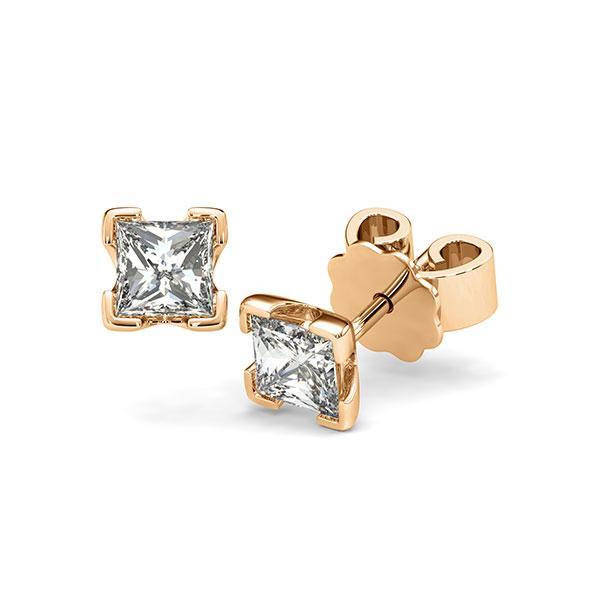 Ohrstecker 4-eckige Stotzen in Roségold 585 mit 2x 0,5 ct. Prinzess-Diamant tw, vs von acredo - A-12I237-E5-1VCE0IZ