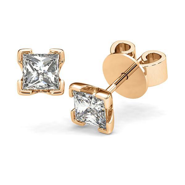 Ohrstecker 4-eckige Stotzen in Roségold 585 mit 2x 1 ct. Prinzess-Diamant tw, vs von acredo - A-12I23J-E5-1VCE0KZ