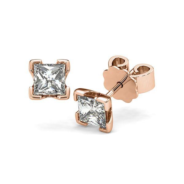 Ohrstecker 4-eckige Stotzen in Rotgold 585 mit 2x 0,7 ct. Prinzess-Diamant tw, vs von acredo - A-12I23A-R5-1VCE0JZ