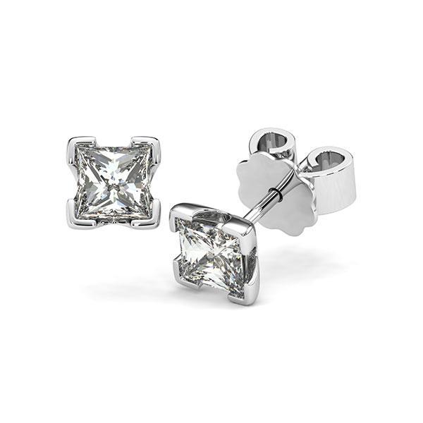Ohrstecker 4-eckige Stotzen in Weißgold 585 mit 2x 0,7 ct. Prinzess-Diamant tw, vs von acredo - A-12I238-W5-1VCE0JZ
