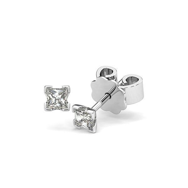 Ohrstecker 4-eckige Stotzen in Weißgold 585 mit zus. 0,3 ct. Prinzess-Diamant tw, si von acredo - A-12I229-W5-1JUJCWZ