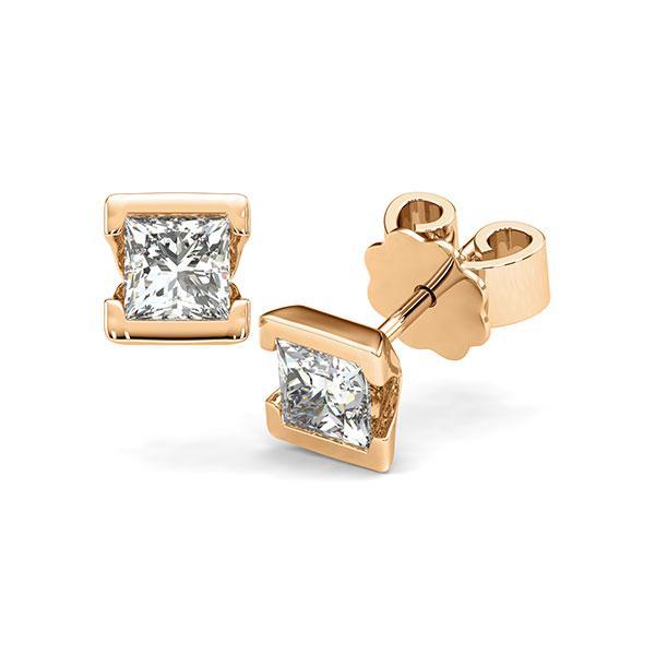 Ohrstecker Geraden in Roségold 585 mit 2x 0,5 ct. Prinzess-Diamant tw, vs von acredo - A-12HXDR-E5-1VCE0IZ