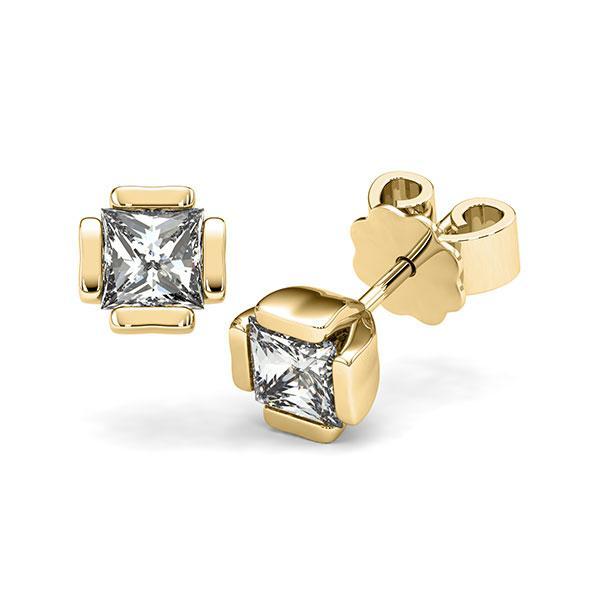 Ohrstecker in Gelbgold 585 mit 2x 0,7 ct. Prinzess-Diamant tw, vs von acredo - A-12I1N8-G5-1VCE0JZ