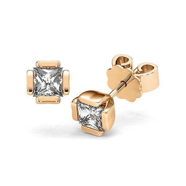 Ohrstecker in Roségold 585 mit 2x 0,5 ct. Prinzess-Diamant tw, vs von acredo - A-12I1LR-E5-1VCE0IZ