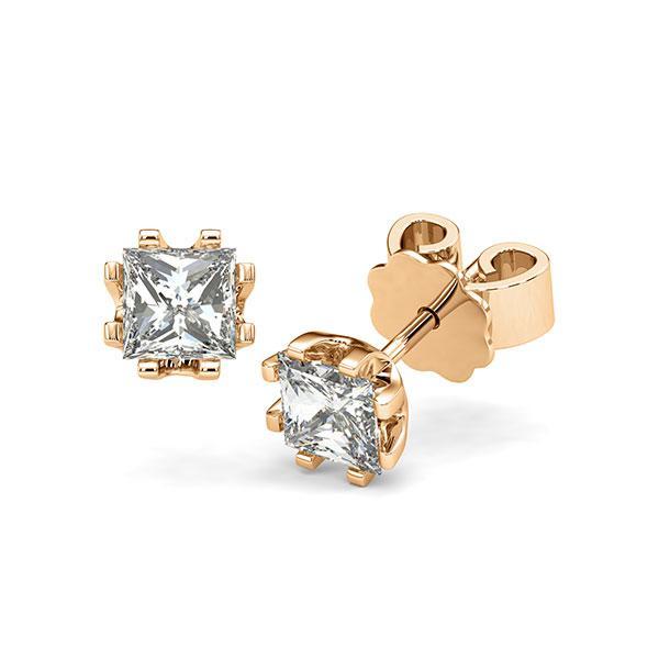 Ohrstecker in Roségold 585 mit 2x 0,7 ct. Prinzess-Diamant tw, vs von acredo - A-12I1HP-E5-1VCE0JZ