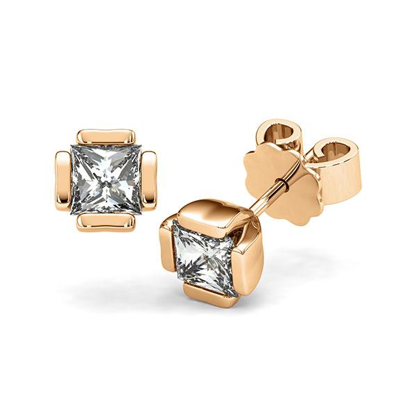 Ohrstecker in Roségold 585 mit 2x 0,7 ct. Prinzess-Diamant tw, vs von acredo - A-12I1PB-E5-1VCE0JZ