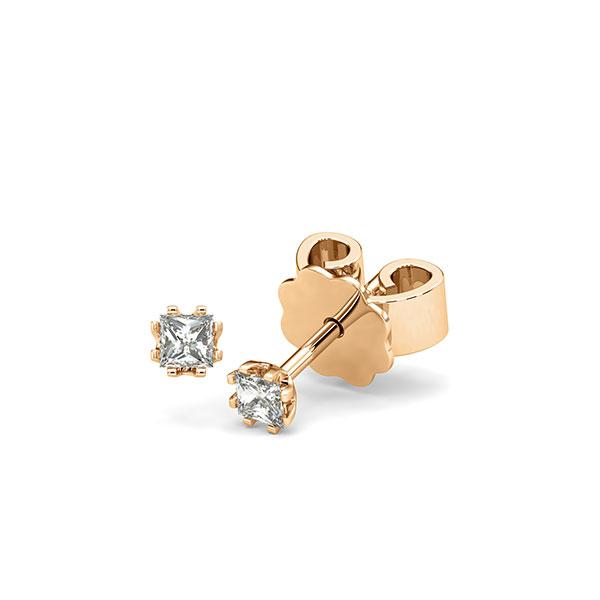 Ohrstecker in Roségold 585 mit zus. 0,2 ct. Prinzess-Diamant tw, vs von acredo - A-12HZCD-E5-1JUT26Z