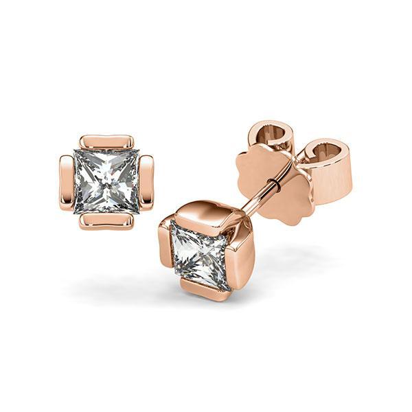 Ohrstecker in Rotgold 585 mit 2x 0,5 ct. Prinzess-Diamant tw, vs von acredo - A-12I1LK-R5-1VCE0IZ