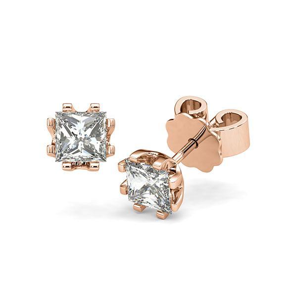 Ohrstecker in Rotgold 585 mit 2x 0,7 ct. Prinzess-Diamant tw, vs von acredo - A-12I1HN-R5-1VCE0JZ