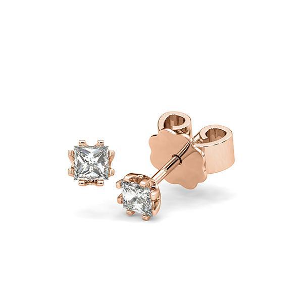 Ohrstecker in Rotgold 585 mit zus. 0,4 ct. Prinzess-Diamant tw, vs von acredo - A-12I1H0-R5-1MIVG6Z