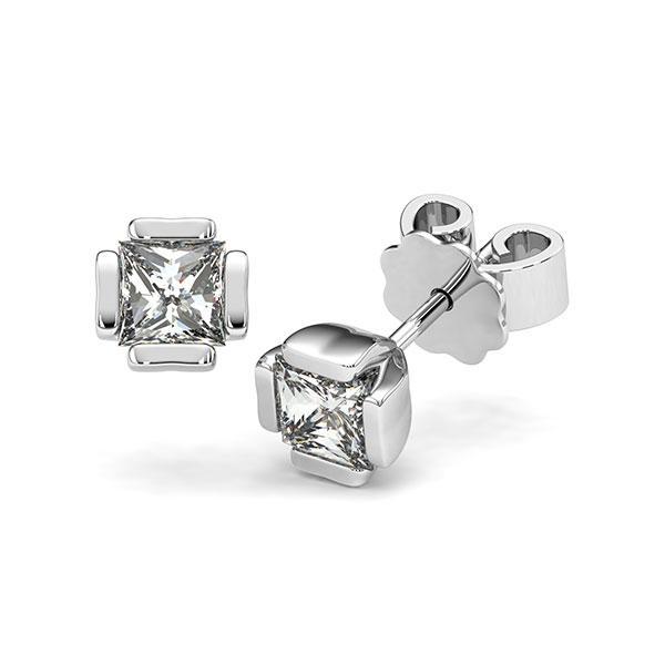 Ohrstecker in Weißgold 585 mit 2x 0,5 ct. Prinzess-Diamant tw, vs von acredo - A-12I1LD-W5-1VCE0IZ