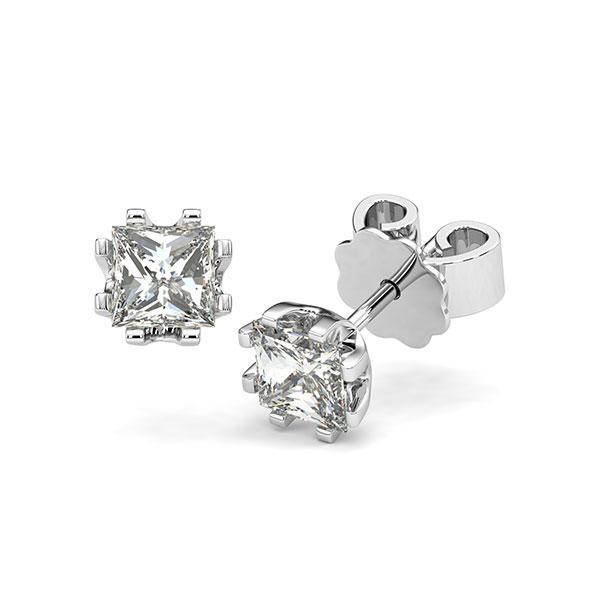 Ohrstecker in Weißgold 585 mit 2x 0,7 ct. Prinzess-Diamant tw, vs von acredo - A-12I1HL-W5-1VCE0JZ