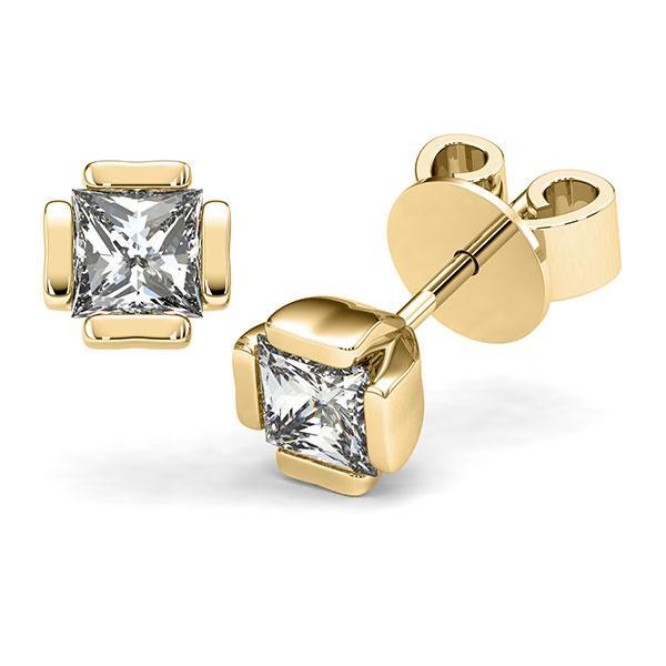 Set in geelgoud 14 kt. met 2x 1 ct. Princess-Diamant tw,vs van acredo - A-12I1QI-G5-1VCE0KZ