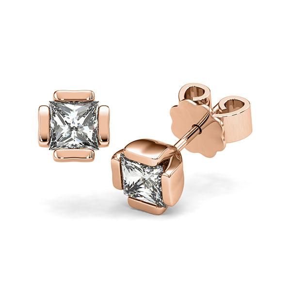 Set in roodgoud 14 kt. met 2x 0,7 ct. Princess-Diamant tw,vs van acredo - A-12I1NH-R5-1VCE0JZ