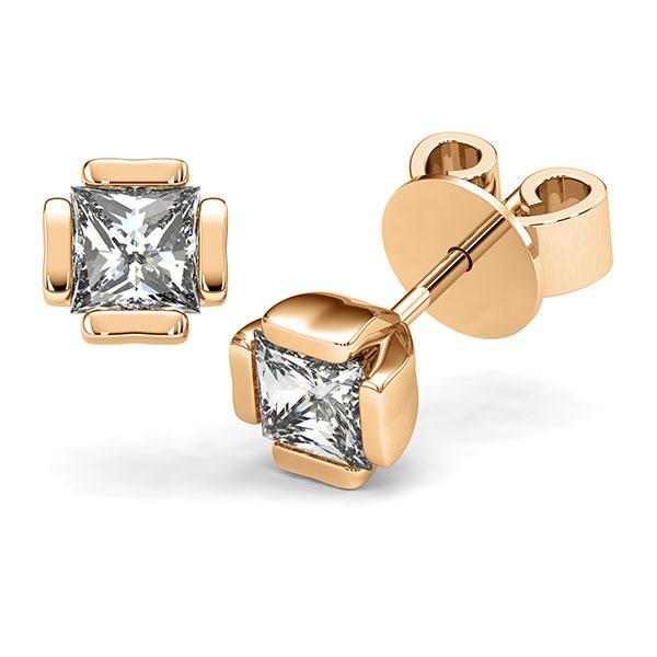 Set in roségoud 14 kt. met 2x 1 ct. Princess-Diamant tw,vs van acredo - A-12I1XP-E5-1VCE0KZ