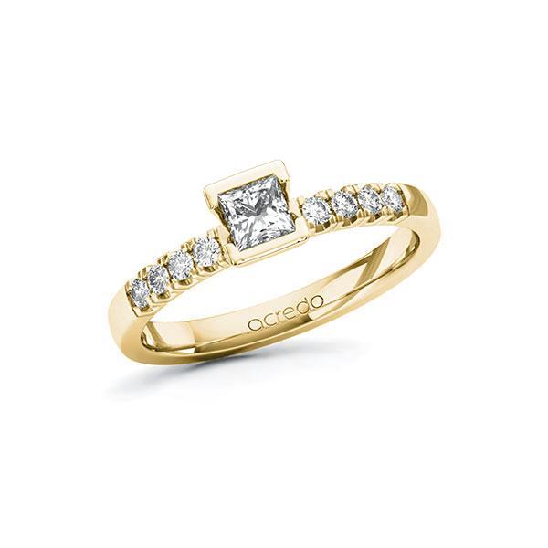 Verlobungsring in Gelbgold 585 mit 0,3 ct. + zus. 0,16 ct. Prinzess-Diamant tw, vs tw, si von acredo - A-ZWIAF-GG5-1R48PAZ