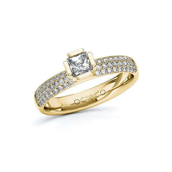 Verlobungsring in Gelbgold 585 mit 0,4 ct. + zus. 0,432 ct. Prinzess-Diamant tw, vs tw, si von acredo - A-10G4ZZ-GG5-1R7VTHZ