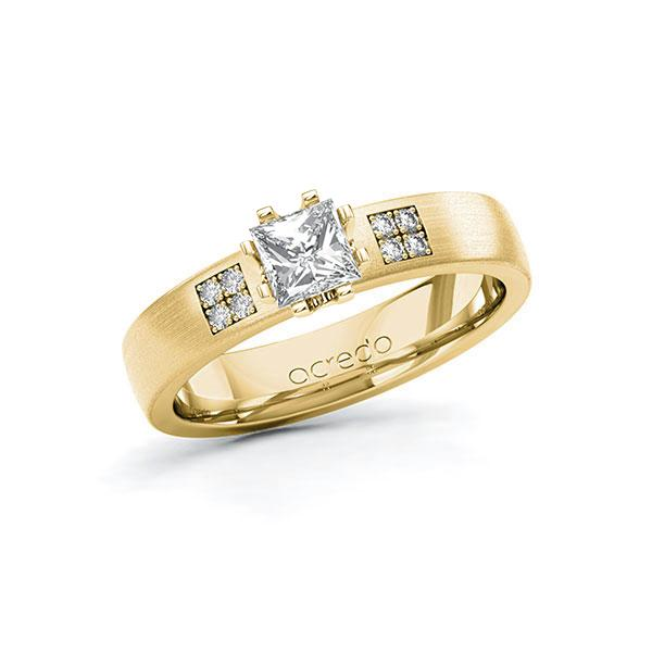 Verlobungsring in Gelbgold 585 mit 0,5 ct. + zus. 0,064 ct. Prinzess-Diamant tw, vs tw, si von acredo - A-10G3J1-GG5-1R9RQ3Z
