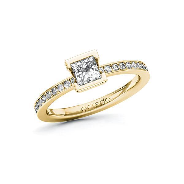 Verlobungsring in Gelbgold 585 mit 0,5 ct. + zus. 0,2 ct. Prinzess-Diamant tw, vs tw, si von acredo - A-101ZRS-GG5-1RDXT9Z