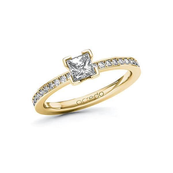 Verlobungsring in Gelbgold 585 mit 0,5 ct. + zus. 0,2 ct. Prinzess-Diamant tw, vs tw, si von acredo - A-ZYPDV-GG5-1R84EEZ