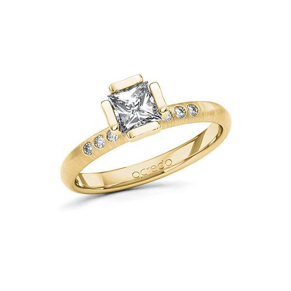 Verlobungsring in Gelbgold 585 mit 0,7 ct. + zus. 0,06 ct. Prinzess-Diamant tw, vs tw, si von acredo - A-10GD4S-GG5-1S4FK3Z