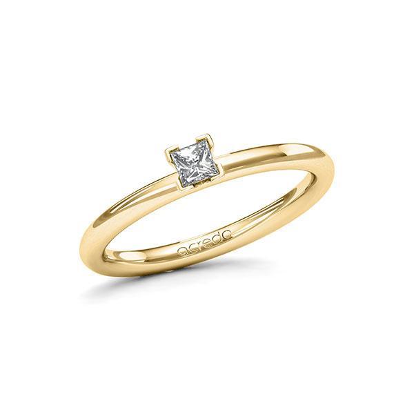 Verlobungsring in Gelbgold 585 mit zus. 0,15 ct. Prinzess-Diamant tw, si von acredo - A-115N4X-GG5-1R3PLBZ