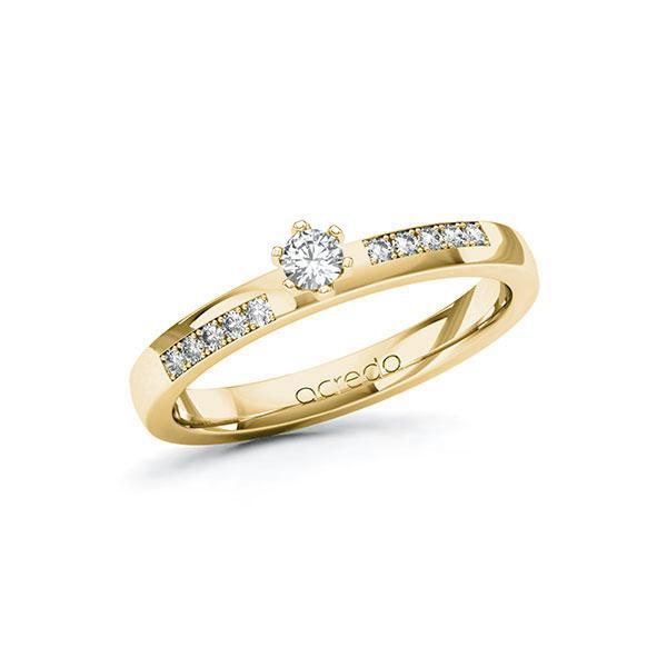 Verlobungsring in Gelbgold 585 mit zus. 0,2 ct. Brillant tw, si von acredo - A-ZWLKT-GG5-1R4919Z