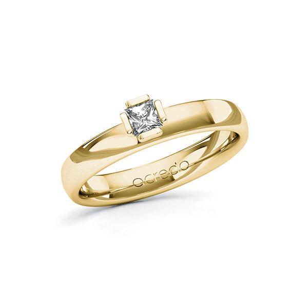 Verlobungsring in Gelbgold 585 mit zus. 0,2 ct. Prinzess-Diamant tw, si von acredo - A-10G50H-GG5-1R0P6QZ