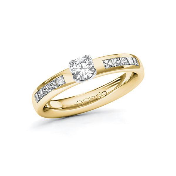 Verlobungsring in Gelbgold 585 Weißgold 585 mit 0,3 ct. + zus. 0,3 ct. Brillant tw, si von acredo - A-ZWLV4-GW5-1RDT03Z
