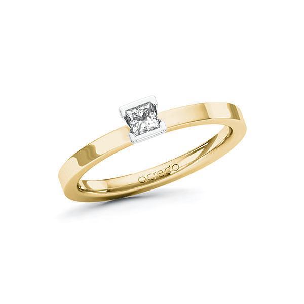 Verlobungsring in Gelbgold 585 Weißgold 585 mit zus. 0,15 ct. Prinzess-Diamant tw, si von acredo - A-10GBZ8-GW5-1R471SZ