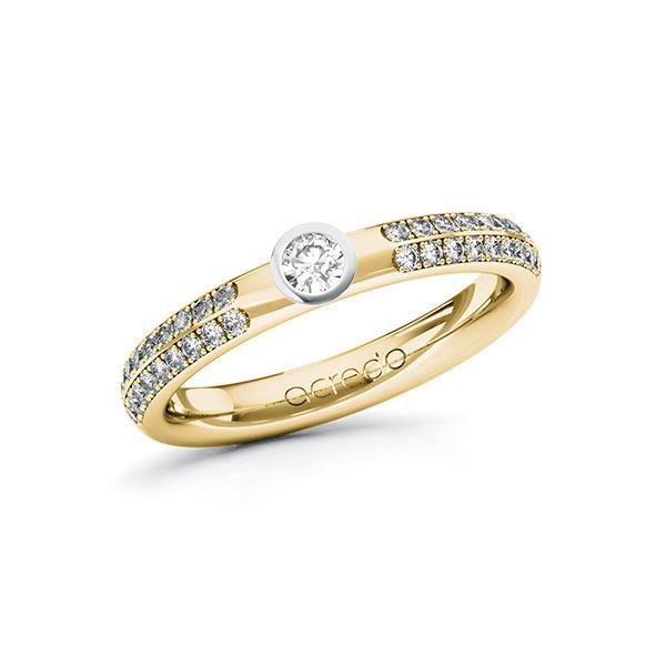 Verlobungsring in Gelbgold 585 Weißgold 585 mit zus. 0,388 ct. Brillant tw, si von acredo - A-ZWMXX-GW5-1R4H6AZ