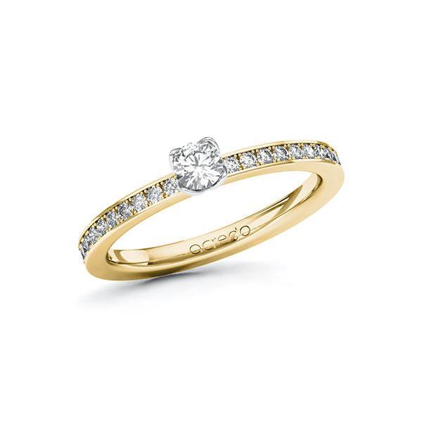 Verlobungsring in Gelbgold 585 Weißgold 585 mit zus. 0,4 ct. Brillant tw, si von acredo - A-ZWHY0-GW5-1R47KPZ