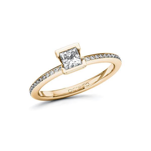 Verlobungsring in Roségold 585 mit 0,4 ct. + zus. 0,15 ct. Prinzess-Diamant tw, vs tw, si von acredo - A-100H2T-EE5-1RB8XCZ