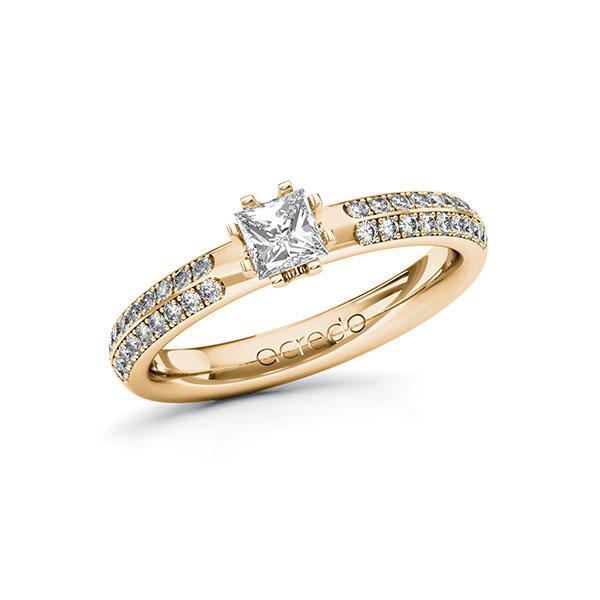 Verlobungsring in Roségold 585 mit 0,4 ct. + zus. 0,288 ct. Prinzess-Diamant tw, vs tw, si von acredo - A-ZWMZR-EE5-1R4HJPZ