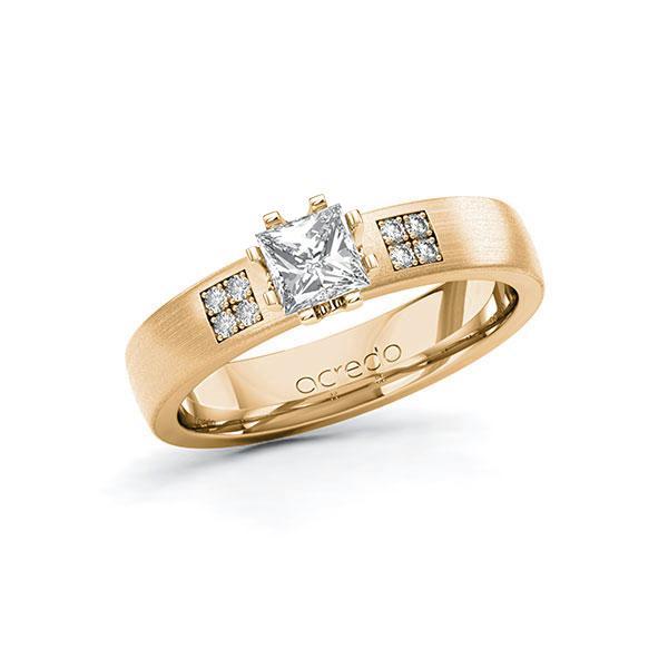 Verlobungsring in Roségold 585 mit 0,5 ct. + zus. 0,064 ct. Prinzess-Diamant tw, vs tw, si von acredo - A-10G3J7-EE5-1R9RQ3Z