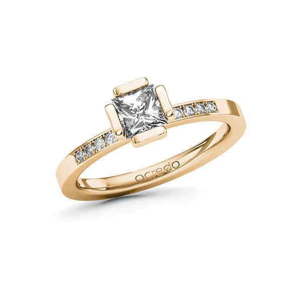 Verlobungsring in Roségold 585 mit 0,7 ct. + zus. 0,1 ct. Prinzess-Diamant tw, vs tw, si von acredo - A-ZWMML-EE5-1R4GWGZ