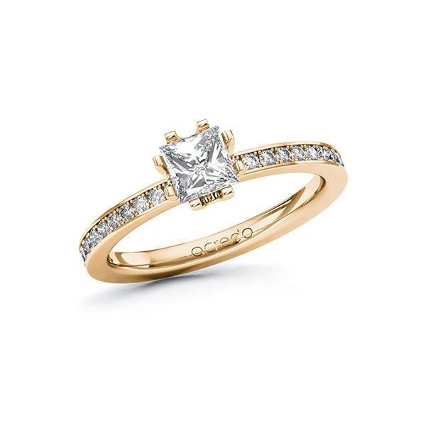 Verlobungsring in Roségold 585 mit 0,7 ct. + zus. 0,2 ct. Prinzess-Diamant tw, vs tw, si von acredo - A-ZWHYX-EE5-1RE58SZ