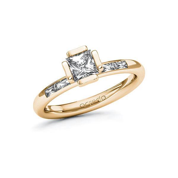 Verlobungsring in Roségold 585 mit 0,7 ct. + zus. 0,2 ct. Prinzess-Diamant tw, vs von acredo - A-ZWLZH-EE5-1RQB7MZ