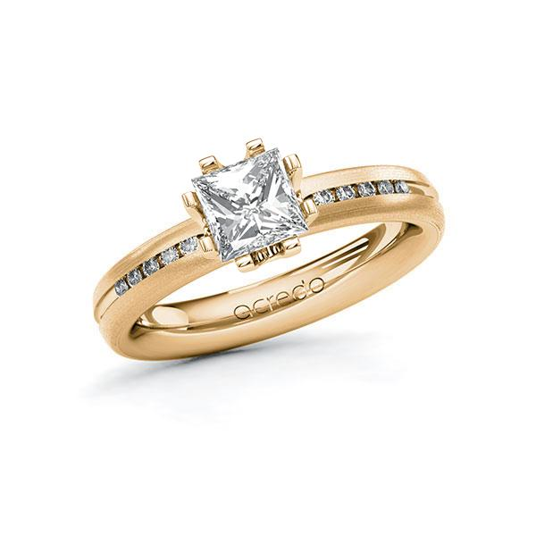 Verlobungsring in Roségold 585 mit 1 ct. + zus. 0,08 ct. Prinzess-Diamant tw, vs tw, si von acredo - A-10TUAW-EEE5-1RG7TAZ