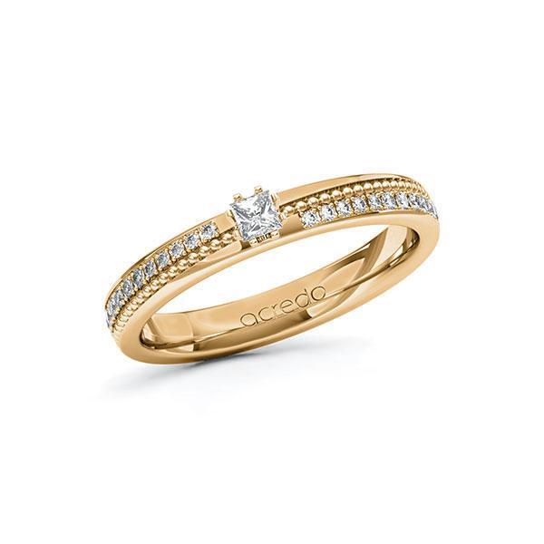 Verlobungsring in Roségold 585 mit zus. 0,396 ct. Prinzess-Diamant tw, vs tw, si von acredo - A-10ZGSU-EEE5-1SWDBDZ