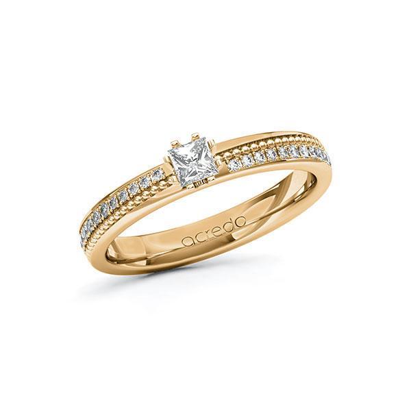 Verlobungsring in Roségold 585 mit zus. 0,496 ct. Prinzess-Diamant tw, vs tw, si von acredo - A-10ZH42-EEE5-1SWDBFZ